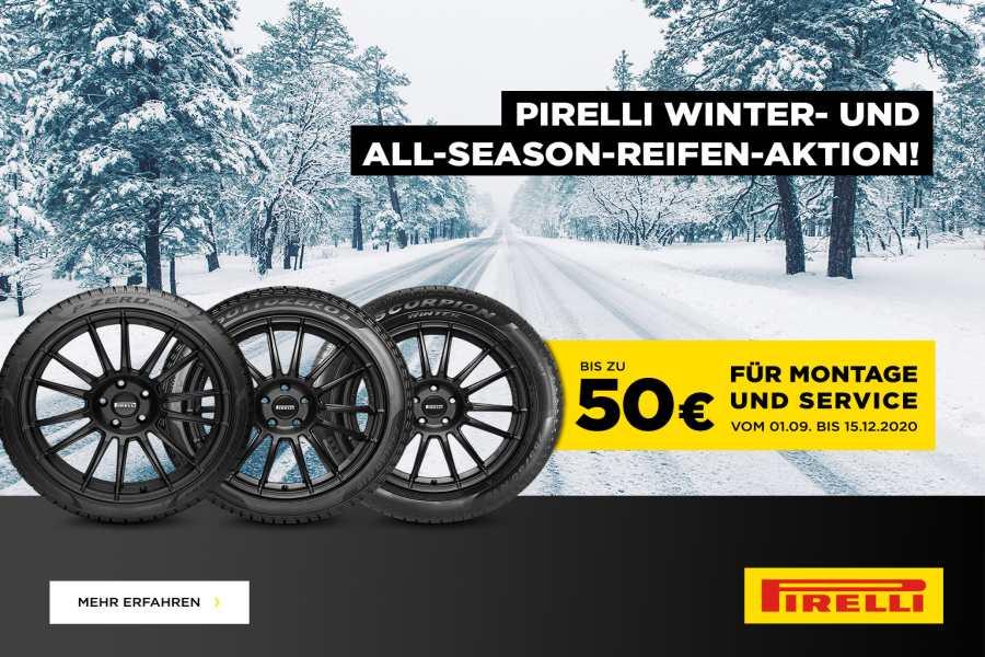 Jetzt bis zu 50,00 € Prämie sichern beim Kauf von 4 Pirelli-Winterreifen ab 17-Zoll